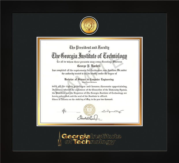 Image of Georgia Tech Diploma Frame - Flat Matte Black - w/24k Gold Plated Medallion GT Wordmark Embossing - Black on Gold Mat