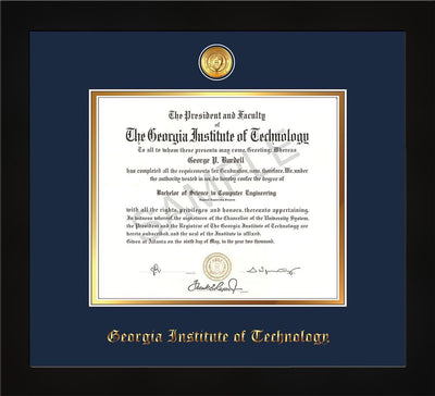 Image of Georgia Tech Diploma Frame - Flat Matte Black - w/24k Gold-plated Medallion - Navy on Gold mat
