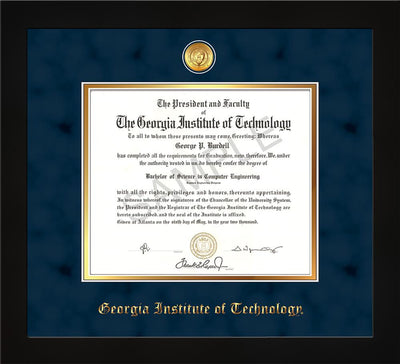 Image of Georgia Tech Diploma Frame - Flat Matte Black - w/24k Gold-plated Medallion - Navy Suede on Gold mat