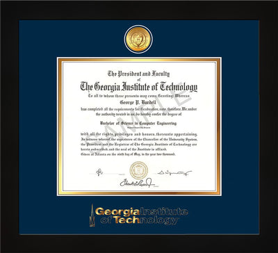 Image of Georgia Tech Diploma Frame - Flat Matte Black - w/24k Gold Plated Medallion GT Wordmark Embossing - Navy on Gold Mat