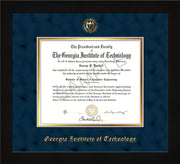 Image of Georgia Tech Diploma Frame - Flat Matte Black - w/Embossed Seal & Name - Navy Suede on Gold mat