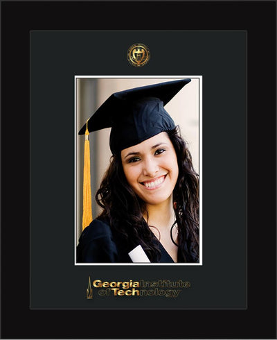 Image of Georgia Tech 5 x 7 Photo Frame - Flat Matte Black - w/Official Embossing of GT Seal & Wordmark - Single Black mat