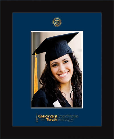 Image of Georgia Tech 5 x 7 Photo Frame - Flat Matte Black - w/Official Embossing of GT Seal & Wordmark - Single Navy mat