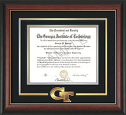 Image of Georgia Tech Diploma Frame - Rosewood w/Gold Lip - w/3-D Laser GT Logo Cutout - Black on Gold mat