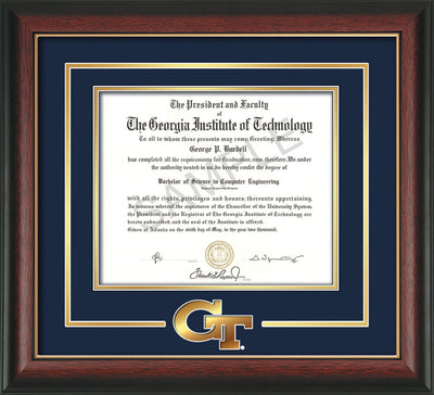 Image of Georgia Tech Diploma Frame - Rosewood w/Gold Lip - w/3-D Laser GT Logo Cutout - Navy on Gold mat