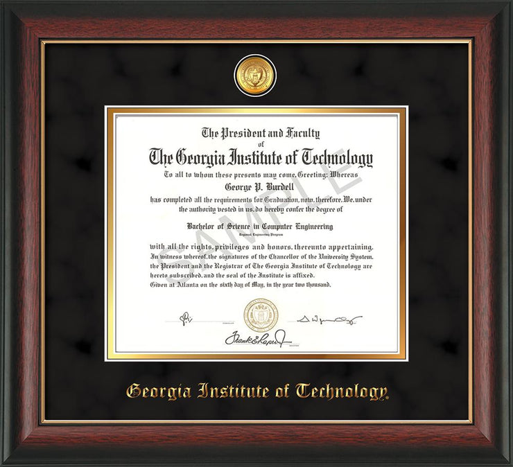 Image of Georgia Tech Diploma Frame - Rosewood w/Gold Lip - w/24k Gold-plated Medallion - Black Suede on Gold mat