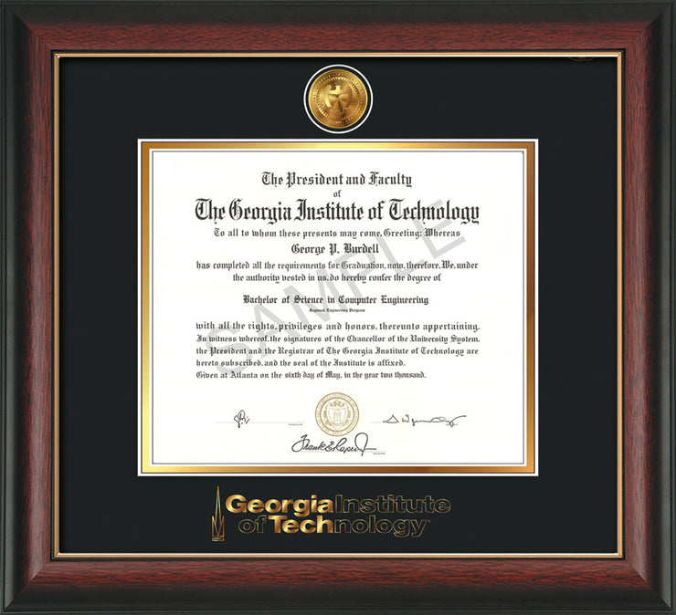 Image of Georgia Tech Diploma Frame - Rosewood w/Gold Lip - w/24k Gold Plated Medallion GT Wordmark Embossing - Black on Gold Mat