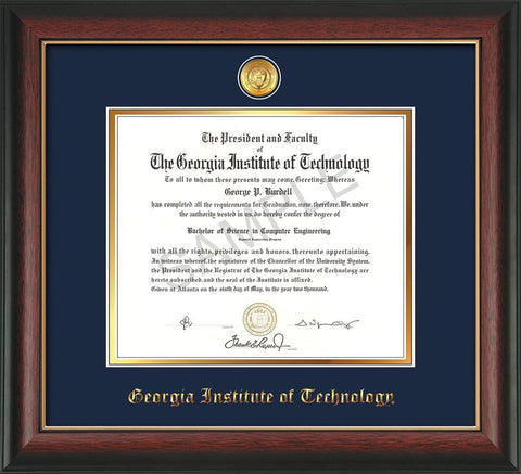 Image of Georgia Tech Diploma Frame - Rosewood w/Gold Lip - w/24k Gold-plated Medallion - Navy on Gold mat