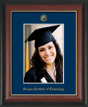 Image of Georgia Tech 5 x 7 Photo Frame - Rosewood w/Gold Lip - w/Official Embossing of GT Seal & Name - Single Navy mat