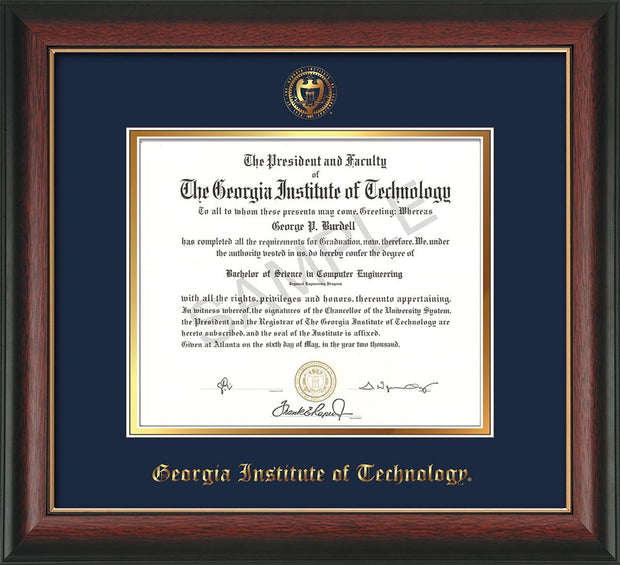 Image of Georgia Tech Diploma Frame - Rosewood w/Gold Lip - w/Embossed Seal & Name - Navy on Gold mat