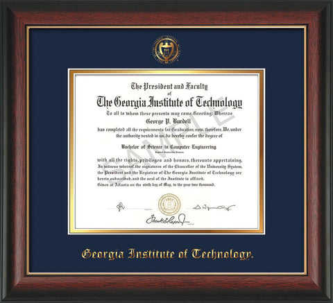 Image Georgia Tech Diploma Frame - Rosewood w/Gold Lip - w/Embossed Seal & Name - Navy on Gold mat