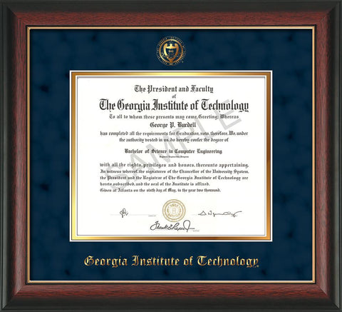 Image of Georgia Tech Diploma Frame - Rosewood w/Gold Lip - w/Embossed Seal & Name - Navy Suede on Gold mat