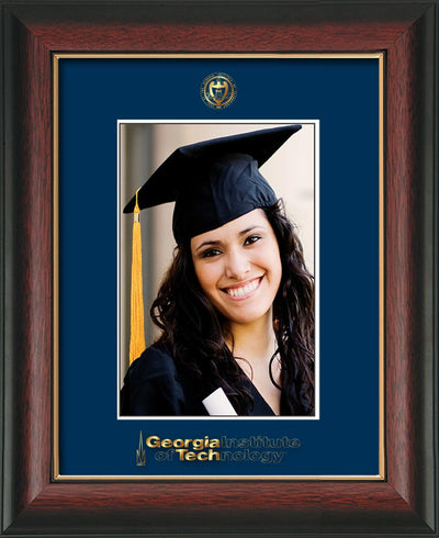 Image of Georgia Tech 5 x 7 Photo Frame - Rosewood w/Gold Lip - w/Official Embossing of GT Seal & Wordmark - Single Navy mat