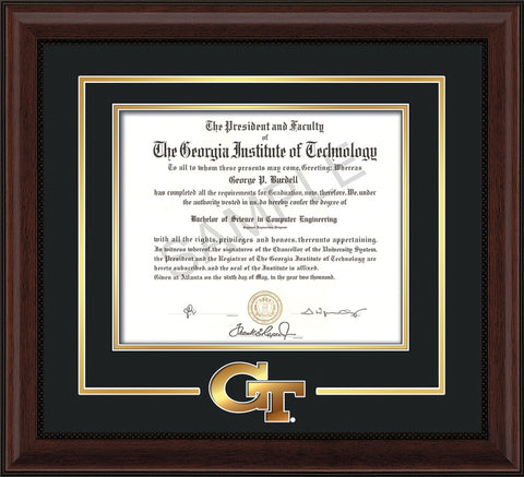 Image of Georgia Tech Diploma Frame - Mahogany Bead- w/3-D Laser GT Logo Cutout - Black on Gold mat
