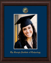 Image of Georgia Tech 5 x 7 Photo Frame - Mahogany Bead - w/Official Embossing of GT Seal & Name - Single Navy mat
