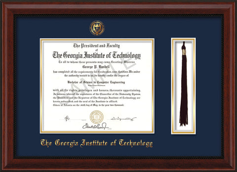 Image of Georgia Tech Diploma Frame - Mahogany Bead - w/Embossed Seal & Name - Tassel Holder - Navy on Gold Mat