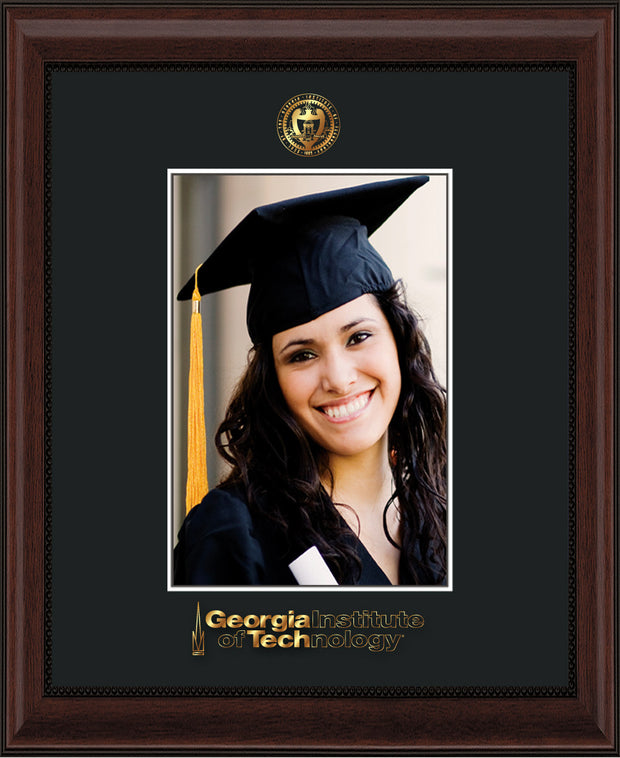 Image of Georgia Tech 5 x 7 Photo Frame - Mahogany Bead - w/Official Embossing of GT Seal & Wordmark - Single Black mat