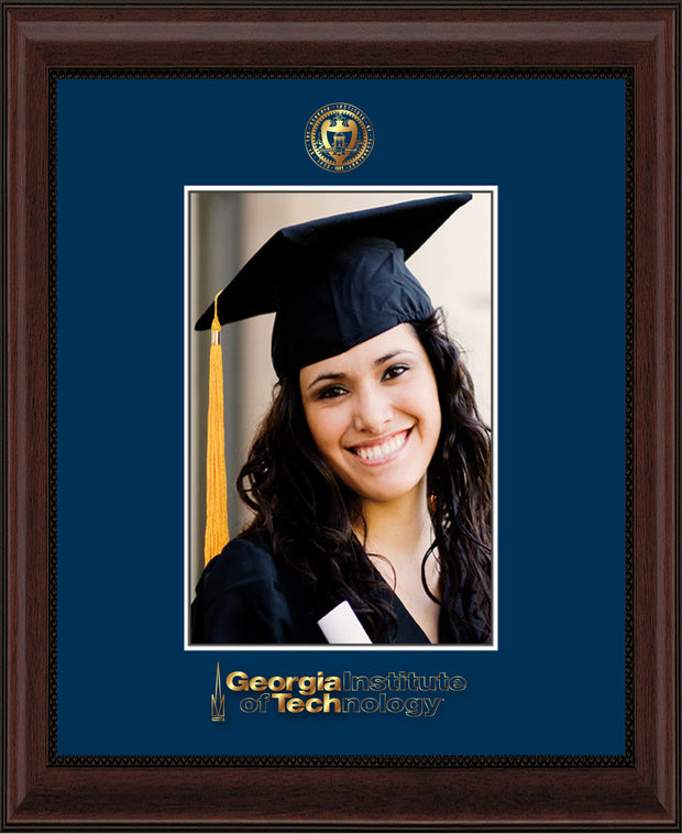 Image of Georgia Tech 5 x 7 Photo Frame - Mahogany Bead - w/Official Embossing of GT Seal & Wordmark - Single Navy mat