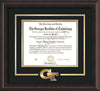 Image of Georgia Tech Diploma Frame - Mahogany Braid- w/3-D Laser GT Logo Cutout - Black on Gold mat