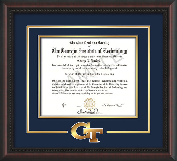 Image of Georgia Tech Diploma Frame - Mahogany Braid - w/3-D Laser GT Logo Cutout - Navy on Gold mat