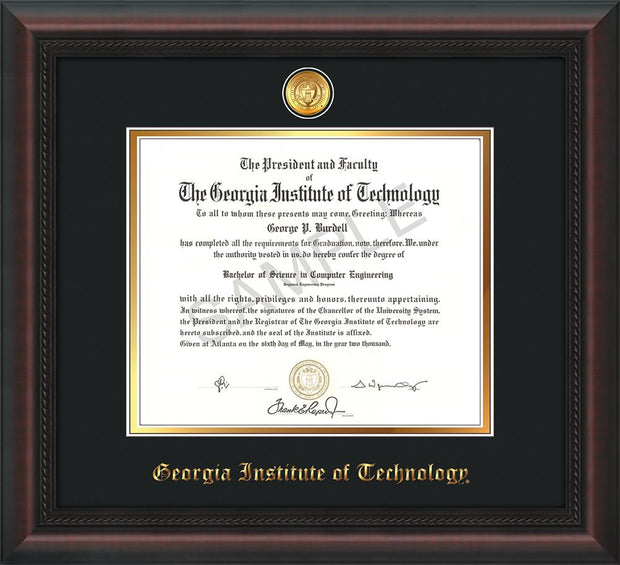 Image of Georgia Tech Diploma Frame - Mahogany Braid - w/24k Gold-plated Medallion - Black on Gold mat