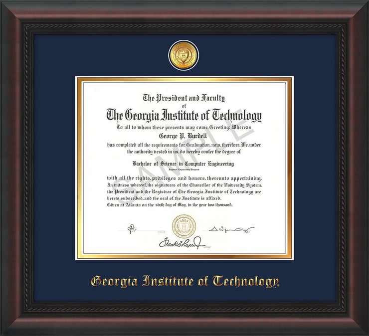 Image of Georgia Tech Diploma Frame - Mahogany Braid - w/24k Gold-plated Medallion - Navy on Gold mat