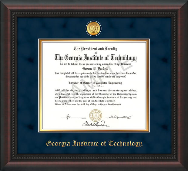 Image of Georgia Tech Diploma Frame - Mahogany Braid - w/24k Gold-plated Medallion - Navy Suede on Gold mat