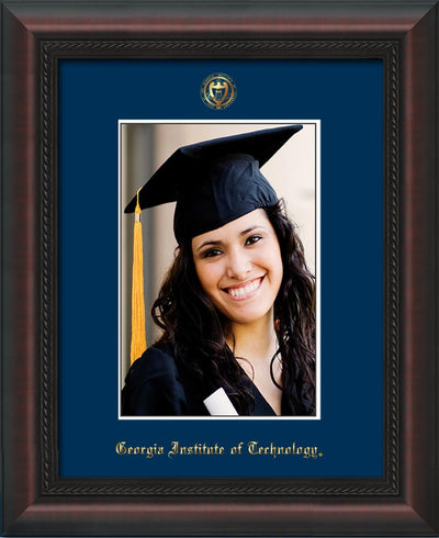 Image of Georgia Tech 5 x 7 Photo Frame - Mahogany Braid - w/Official Embossing of GT Seal & Name - Single Navy mat