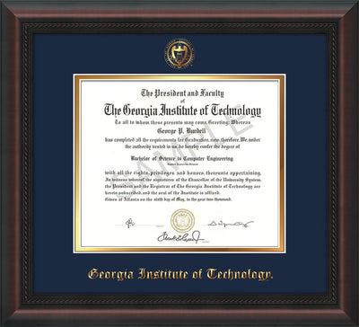 Image of Georgia Tech Diploma Frame - Mahogany Braid - w/Embossed Seal & Name - Navy on Gold mat