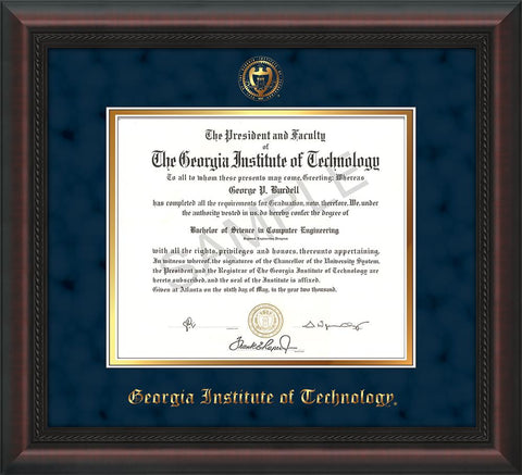 Image of Georgia Tech Diploma Frame - Mahogany Braid - w/Embossed Seal & Name - Navy Suede on Gold mat