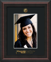 Image of Georgia Tech 5 x 7 Photo Frame - Mahogany Braid - w/Official Embossing of GT Seal & Wordmark - Single Black mat