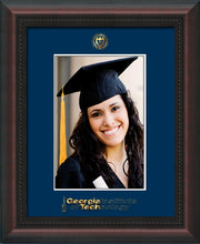 Image of Georgia Tech 5 x 7 Photo Frame - Mahogany Braid - w/Official Embossing of GT Seal & Wordmark - Single Navy mat