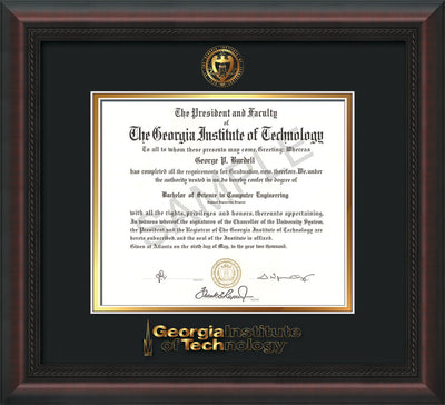 Image of Georgia Tech Diploma Frame - Mahogany Braid - w/Embossed Seal & Wordmark - Black on Gold Mat