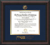 Image of Georgia Tech Diploma Frame - Mahogany Braid - w/Embossed Seal & Wordmark - Navy on Gold Mat