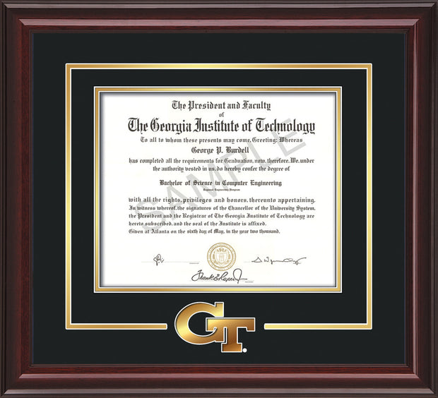Image of Georgia Tech Diploma Frame - Mahogany Lacquer - w/3-D Laser GT Logo Cutout - Black on Gold mat