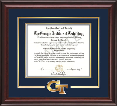 Image of Georgia Tech Diploma Frame - Mahogany Lacquer - w/3-D Laser GT Logo Cutout - Navy on Gold mat