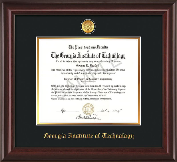 Image of Georgia Tech Diploma Frame - Mahogany Lacquer - w/24k Gold-plated Medallion - Black on Gold mat