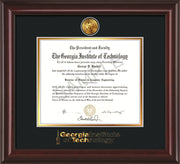 Image of Georgia Tech Diploma Frame - Mahogany Lacquer - w/24k Gold Plated Medallion GT Wordmark Embossing - Black on Gold Mat