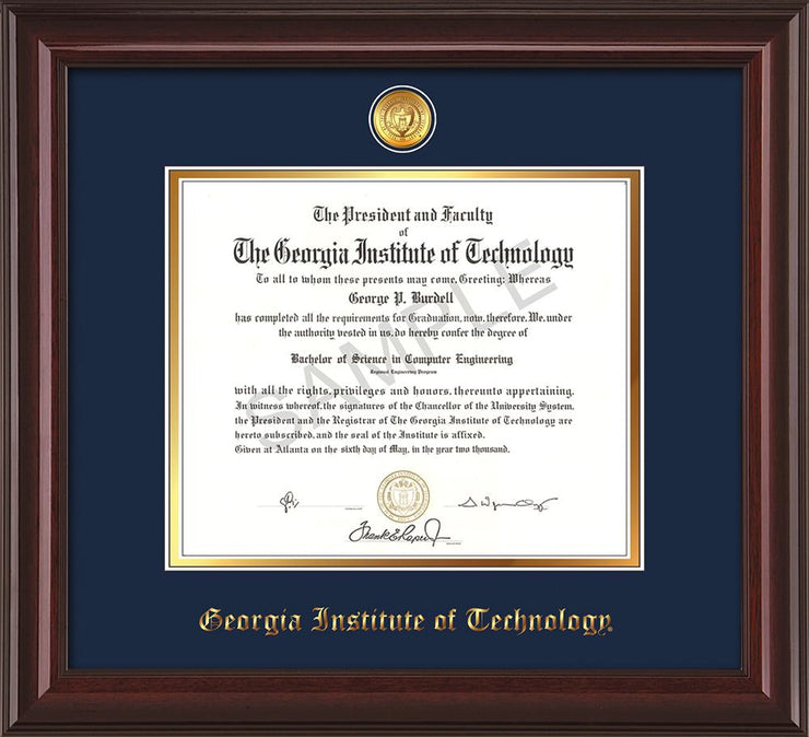 Image of Georgia Tech Diploma Frame - Mahogany Lacquer - w/24k Gold-plated Medallion - Navy on Gold mat