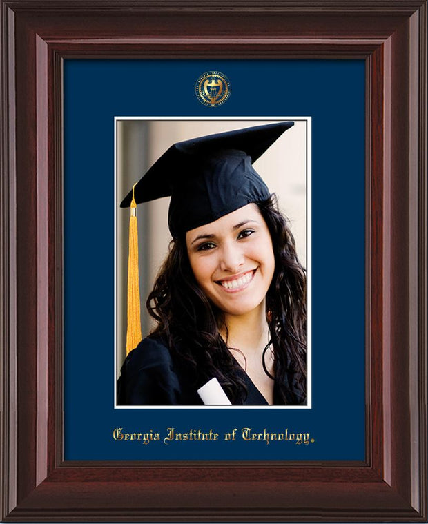 Image of Georgia Tech 5 x 7 Photo Frame - Mahogany Lacquer - w/Official Embossing of GT Seal & Name - Single Navy mat