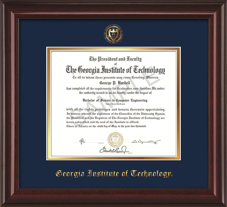 Image of Georgia Tech Diploma Frame - Mahogany Lacquer - w/Embossed Seal & Name - Navy on Gold mat