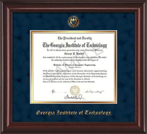 Image of Georgia Tech Diploma Frame - Mahogany Lacquer - w/Embossed Seal & Name - Navy Suede on Gold mat