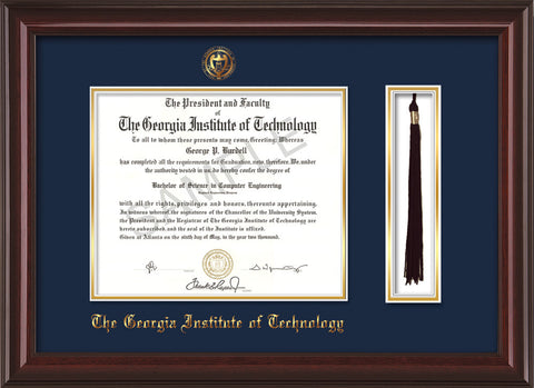 Image of Georgia Tech Diploma Frame - Mahogany Lacquer - w/Embossed Seal & Name - Tassel Holder - Navy on Gold Mat
