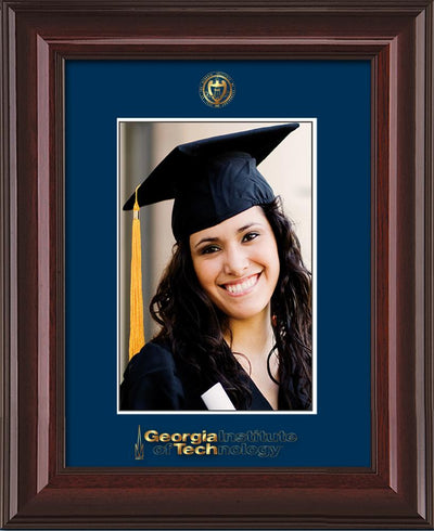 Image of Georgia Tech 5 x 7 Photo Frame - Mahogany Lacquer - w/Official Embossing of GT Seal & Wordmark - Single Navy mat
