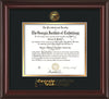 Image of Georgia Tech Diploma Frame - Mahogany Lacquer - w/Embossed Seal & Wordmark - Black on Gold Mat