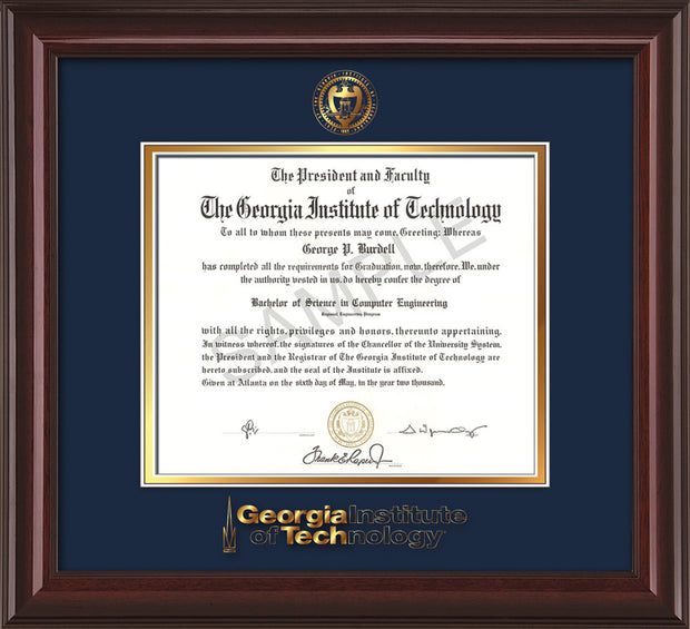 Image of Georgia Tech Diploma Frame - Mahogany Lacquer - w/Embossed Seal & Wordmark - Navy on Gold Mat