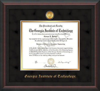 Image of Georgia Tech Diploma Frame - Mahogany Braid - w/24k Gold-plated Medallion - Black Suede on Gold mat