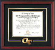 Image of Georgia Tech Diploma Frame - Cherry Reverse - w/3-D Laser GT Logo Cutout - Black on Gold mat