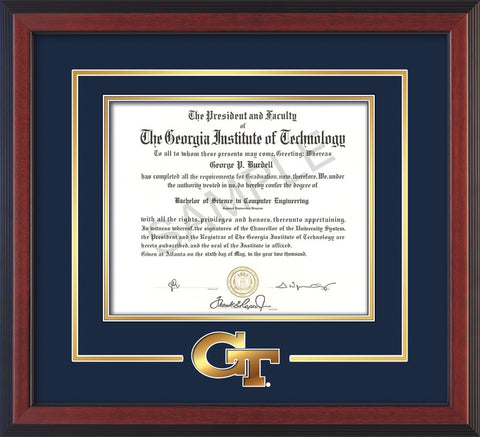 Image of Georgia Tech Diploma Frame - Cherry Reverse - w/3-D Laser GT Logo Cutout - Navy on Gold mat