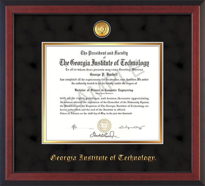 Image of Georgia Tech Diploma Frame - Cherry Reverse - w/24k Gold-plated Medallion - Black Suede on Gold mat